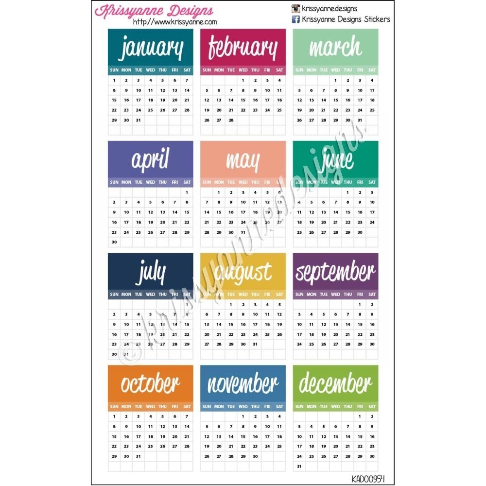 Small Monthly Calendars - 2017 - Set Of 12 Stickers Small Free Printable Calendar
