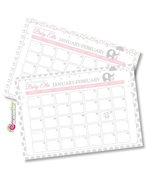 So Adorable Baby Sprinkle Guess The Due Date Calendar Guess The Baby Due Date Elephant Calendar
