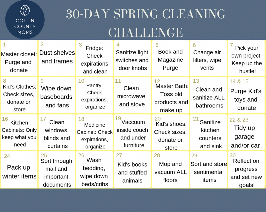 Spring Cleaning: A Free 30-Day Cleaning Challenge Printable 30 Day Challenge Printable Calendar