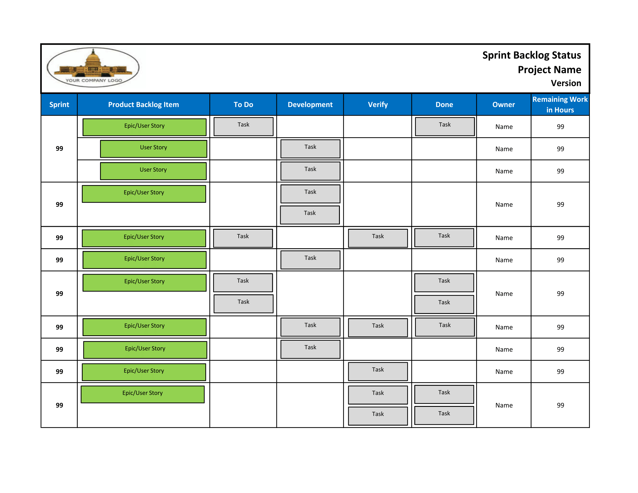 Sprint Backlog Status (Excel) Sprint Days Calendar Excel