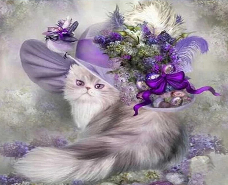 Stunning Cat With Floral Hat In 2020 | Cross Paintings Calendar Number Of Days 0-365