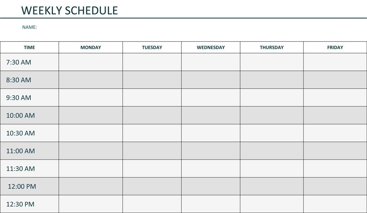Take Monday Through Friday Blank Schedule Print Out ⋆ The Monday To Friday Calender
