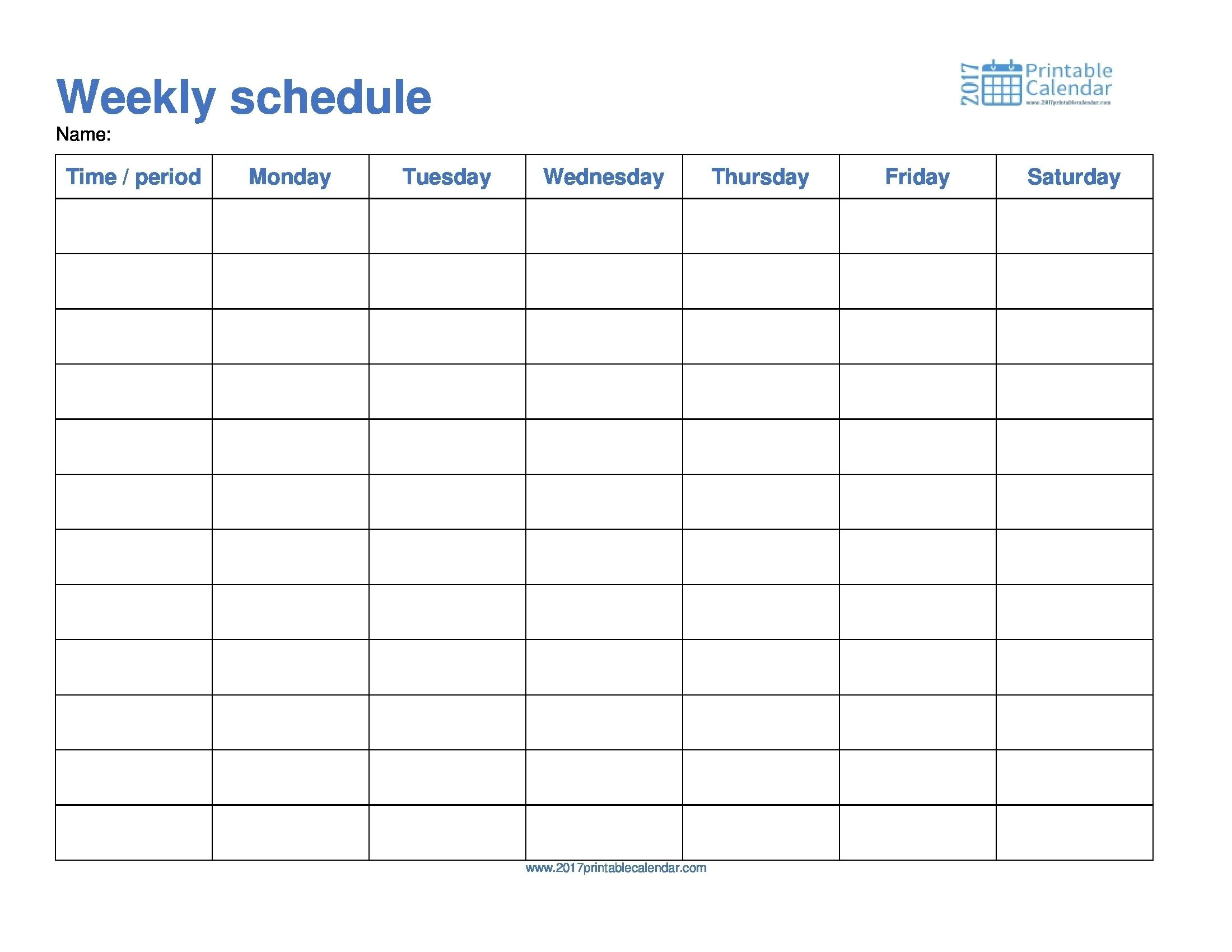 Take Template For Monday Through Friday School Schedule Schedule Template Printable Monday- Sunday