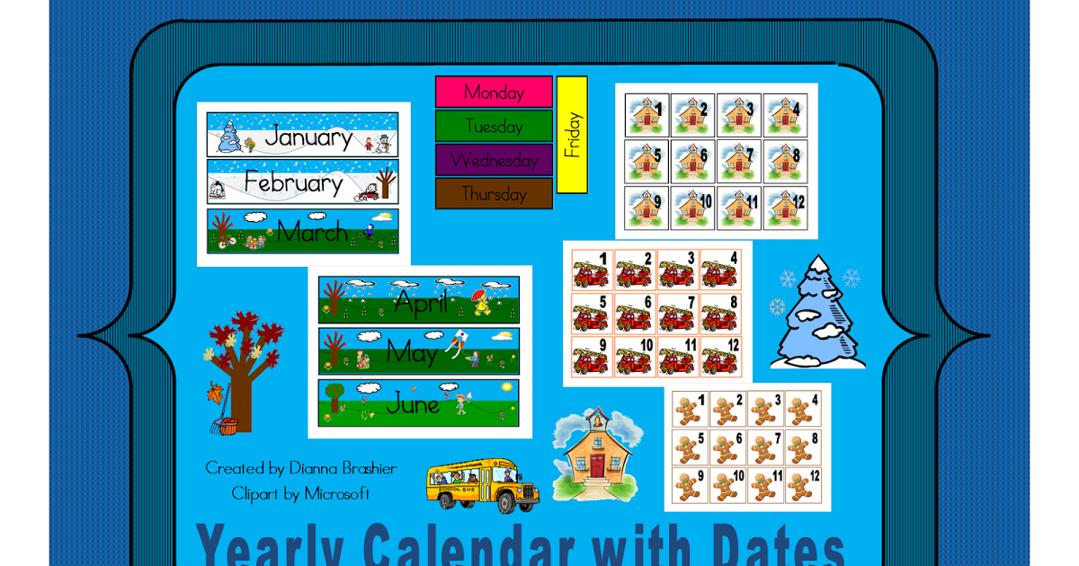Teachers R Us: Yearly Calendar With Dates Numbers For Calendars 1-31 Toddlers