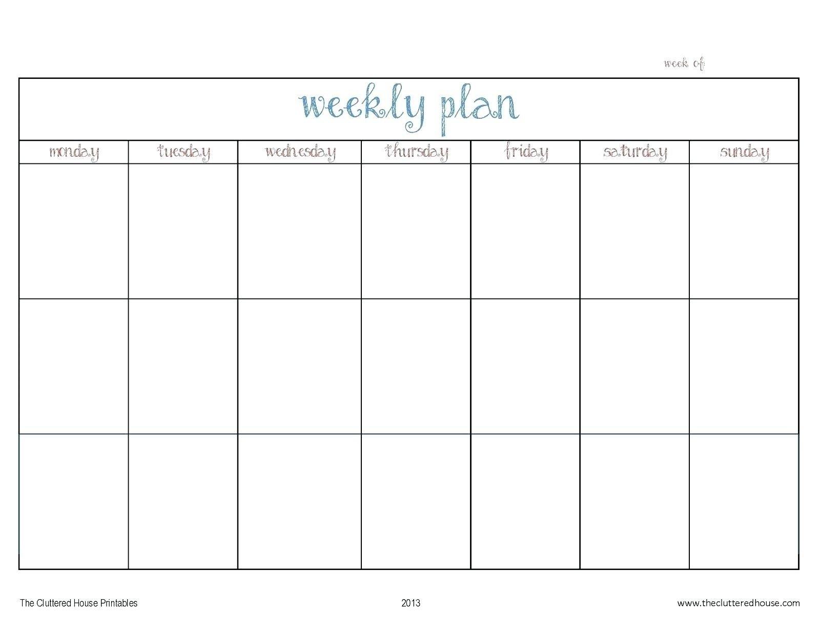 Template For Monday To Friday | Example Calendar Printable Monday Through Friday Calendar