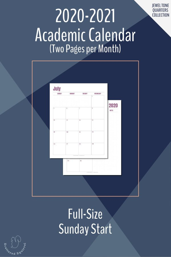 The 2020-2021 Academic Calendar Printables Are Here 2 Week Calender Block Printable Sunday To Sunday