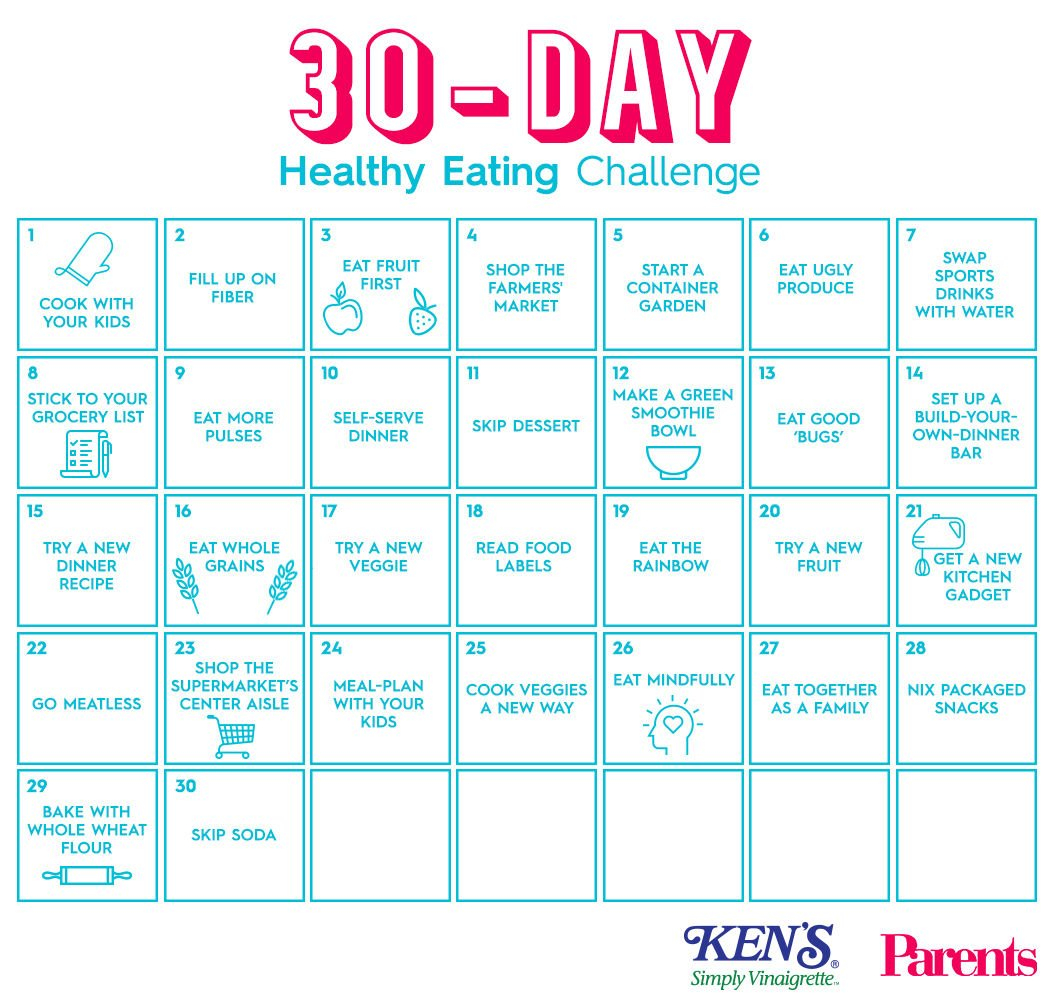 The 30-Day Healthy Eating Challenge | Parents 30 Day Challenge Printable Calendar