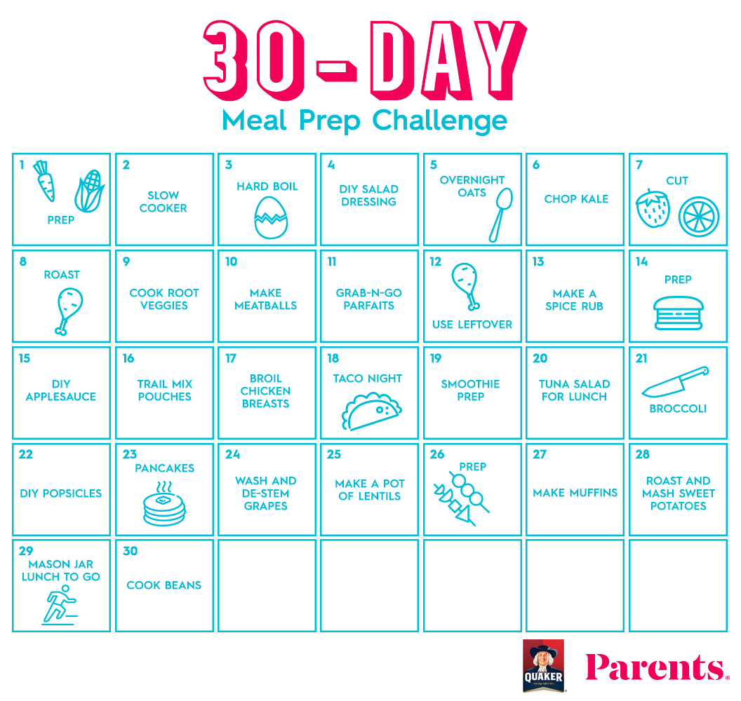 The 30-Day Meal Prep Challenge | Parents Free Printable 30 Day Calendar 30 Day