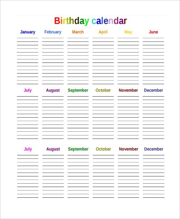 The Birthday Countdown Calendar Template Is A Simple Editable Birthday Calendar Template Free