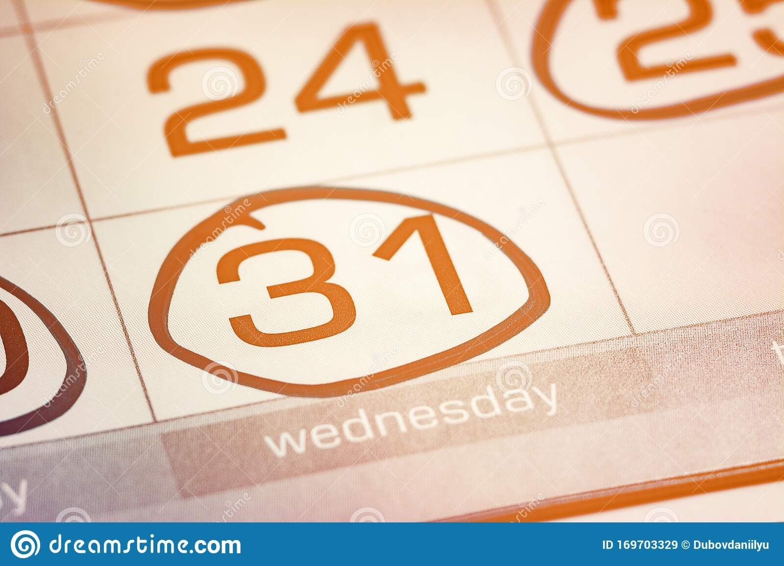 The Thirty-First Day Of The Month Highlighted On The Image Of A Calendar With 2Nd Of Month Highlighted