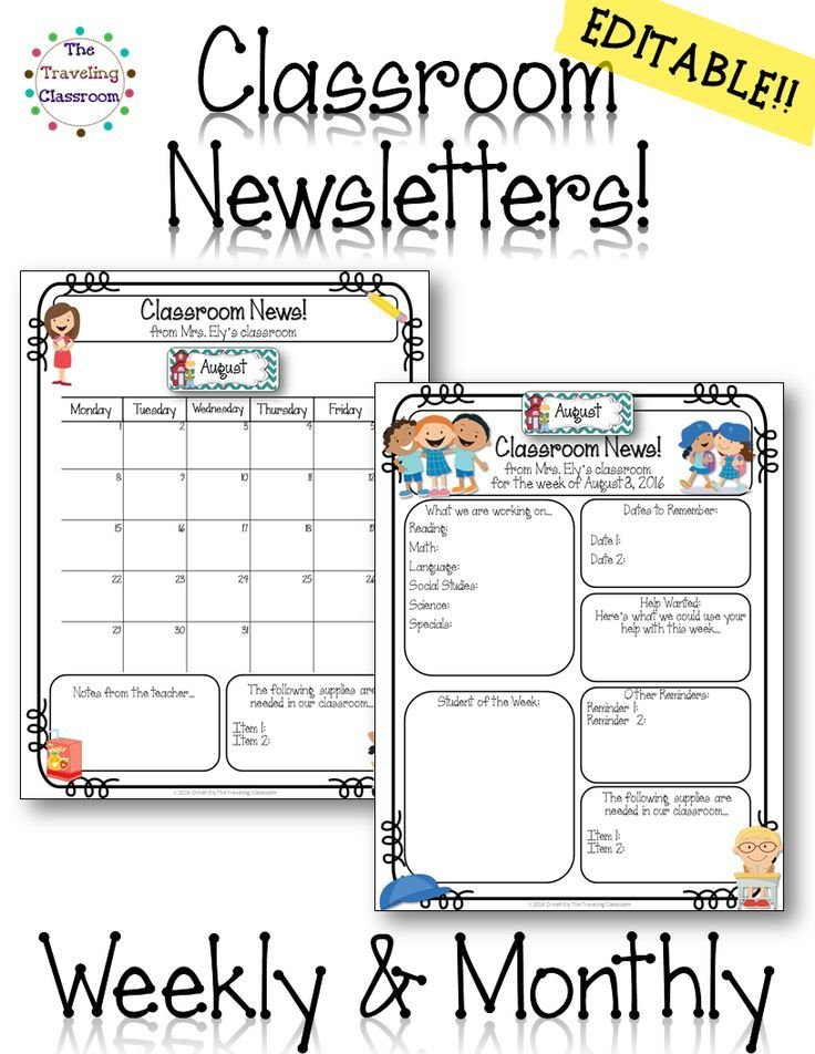 This Set Of Editable Classroom Newsletters Will Be Growing 2 Week Activity Calendar Editable