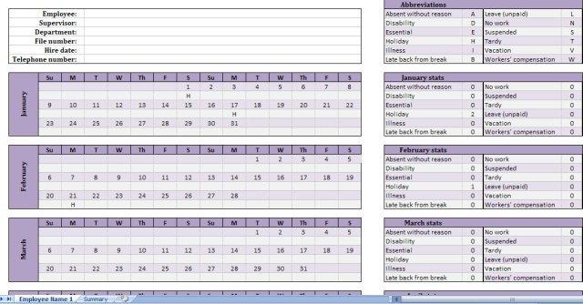 Time Tracking Excel Template | Shatterlion Excel Time Off Tracking Calander