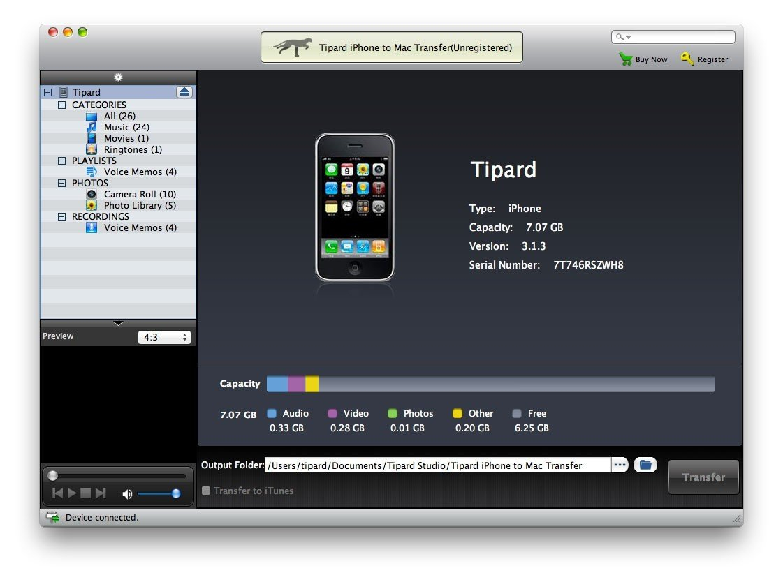 Tipard Iphone To Mac Transfer Main Window - Tipard Studio Free Wordperfect Calendar Templates