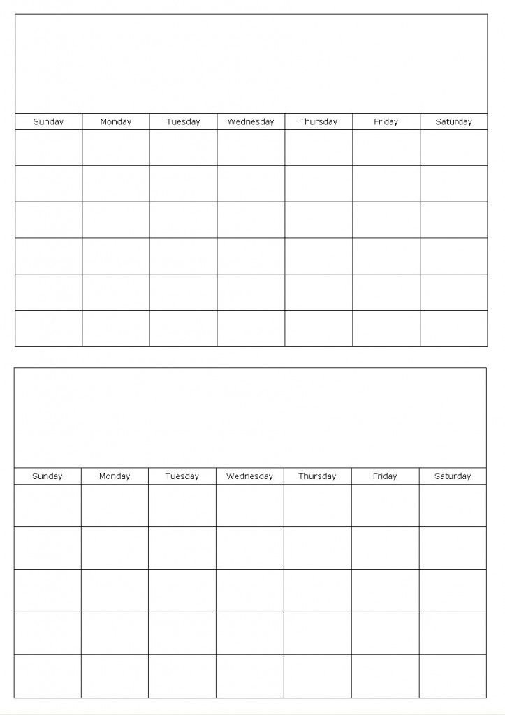 Two Months On A Page Blank Calendar Template | Calendar Blank Printable Two Week Calendar