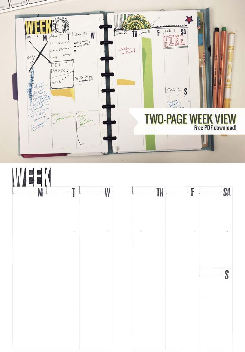 Two-Page Week, 5.5 X 8.5 – Diy Planner Template | Amanda Two Week Planner Template