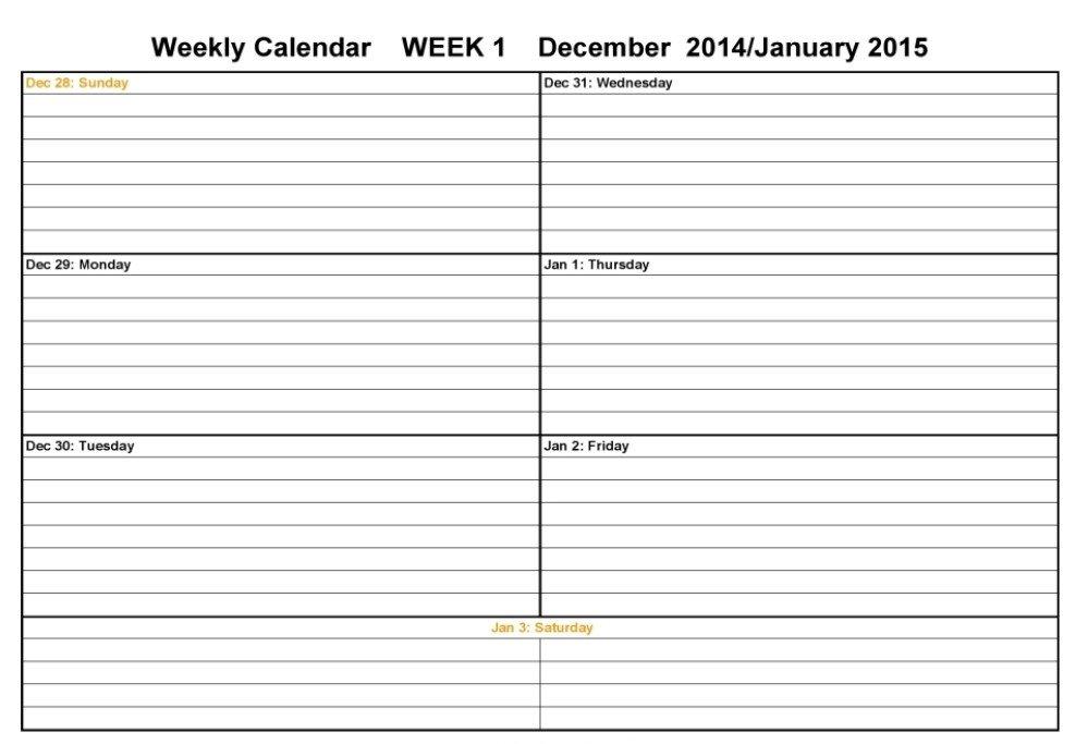 Two Week Calendar Template – Calendar Template 2020 Two Week Planner Template