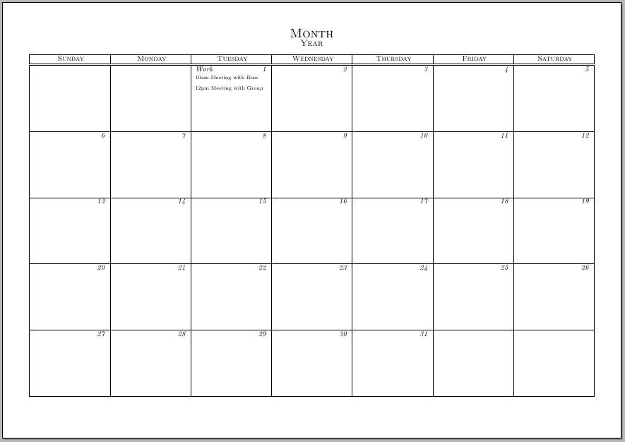 Typeset Calendar But With The Ability To Write Notes And 31 Day Monthly Schedule