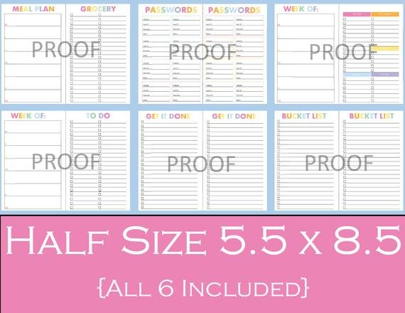 Ultimate Half Size Printable Planner Bundle 5.5 X Printabel Planner Pages For 5.5 X 8.5 Planner