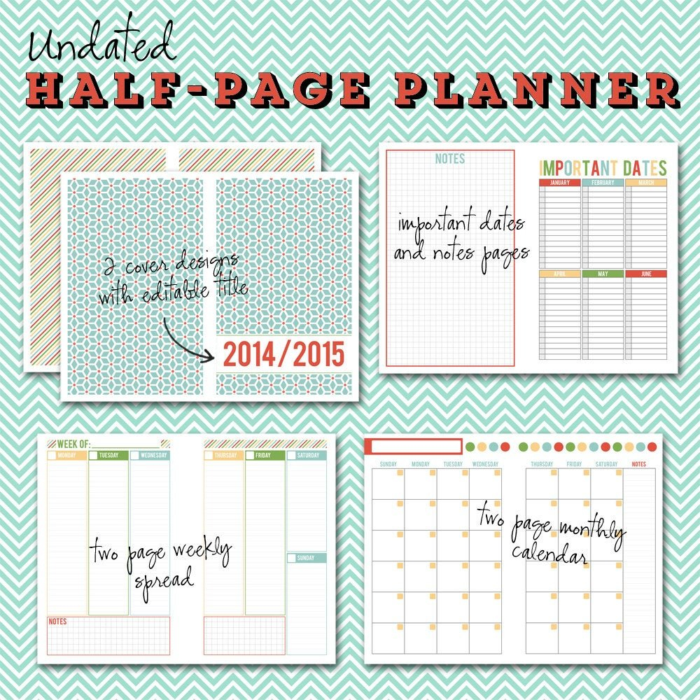 Undated Half-Page Printable Planner 5 1/2 X 8 1/2 Instant 2 Week Calender Block Printable Sunday To Sunday