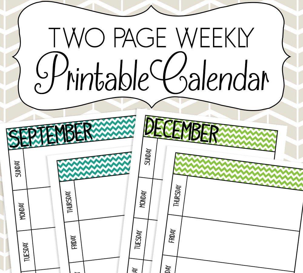 Undated Two Page Weekly Calendar Printable Colorful Chevron Free Printable 2 Week Calendar