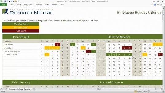 Vacation Sick Leave Calendar Template | Printable Calendar Free Sick Leave Calendar Printable