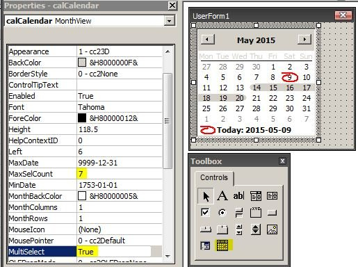 Vba - How To Select Multiple Dates From Usercontrol Insert Calendar In Excel