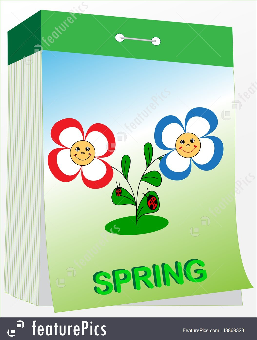 Wall Tear-Off Calendar, Spring Stock Illustration I3869323 Free Printable Tear Off Calendar