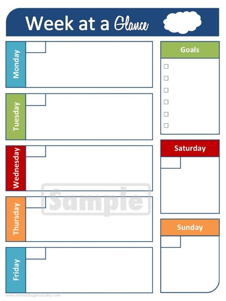 Week At A Glance Printable Calendar – Calendar Template 2019 Printable Calendar For The Week Of March 2 Thru March 6