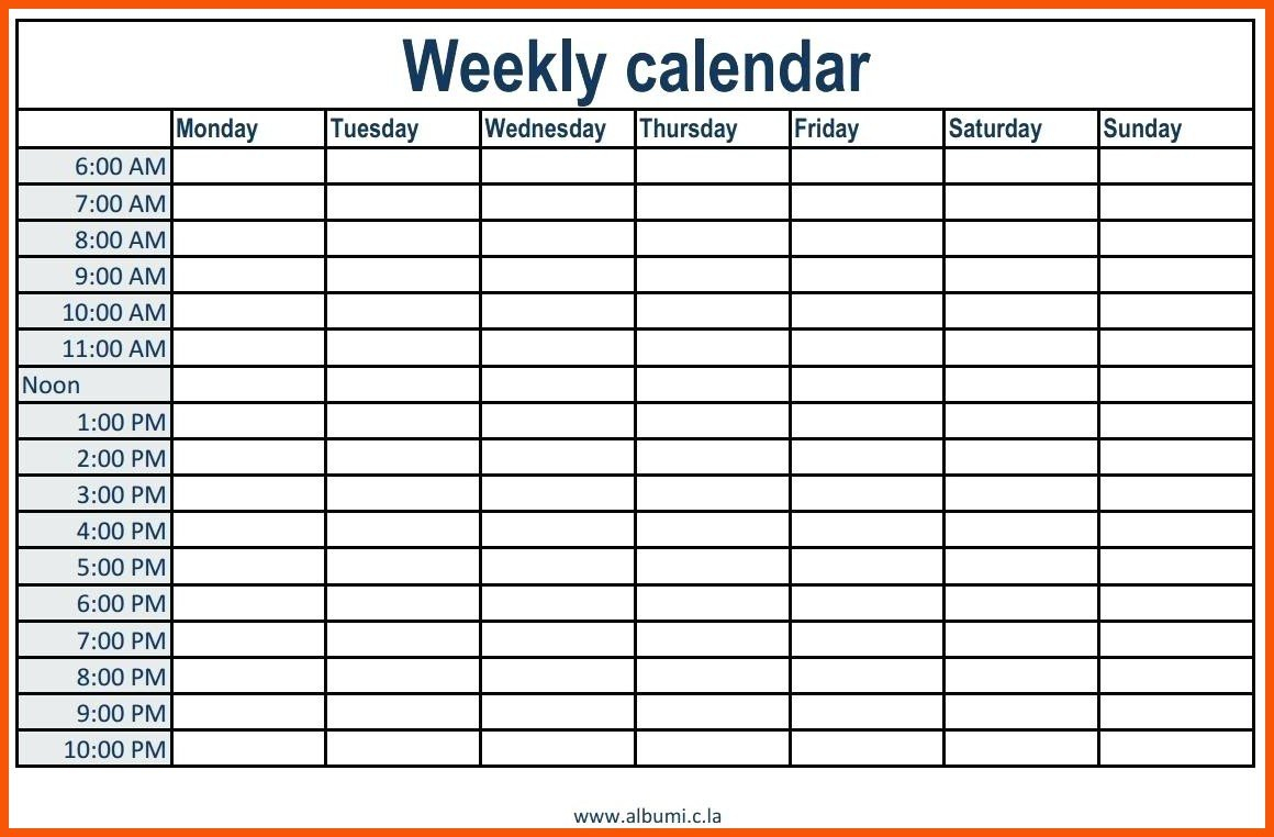 Week Calendar Hour Slots | Calendar Printables Free Templates Week Day Printable Calander Free