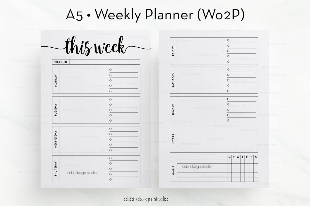 Week On Two Pages A5 Planner Inserts Weekly Planner Undated 2 Week Planner Printable Free