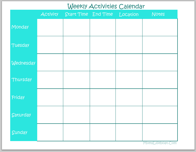 Weekly Activities Calendar - Free Printable Free Blank Calendar For One Week Printable