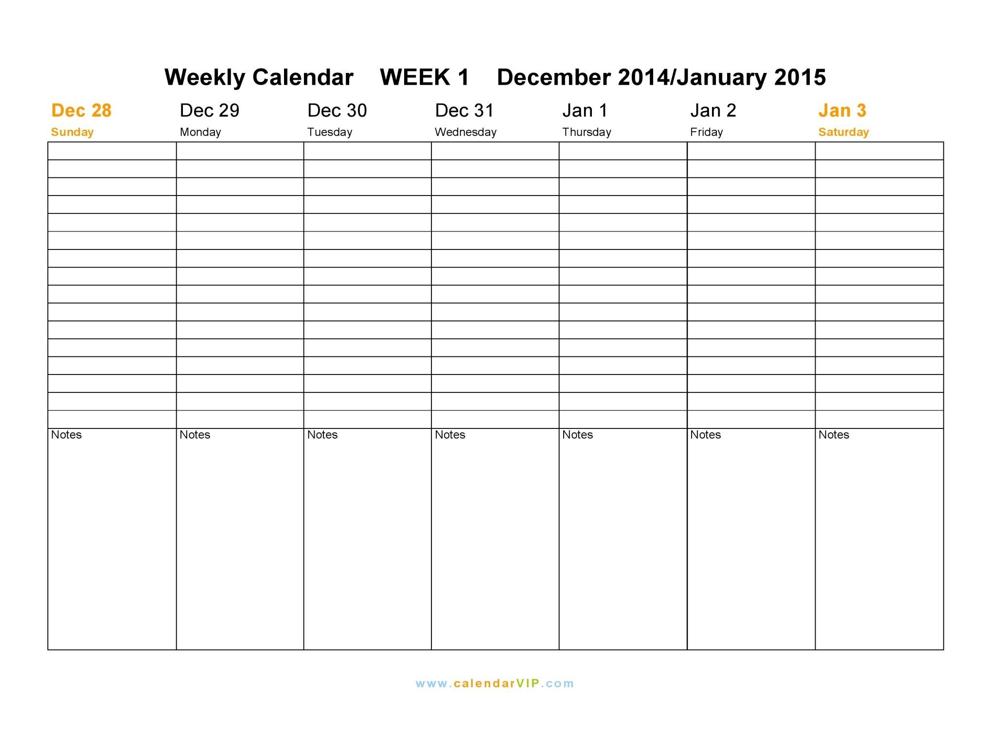 Weekly Calendar 2015 - Free Weekly Calendar Templates 1 Week Blank Calendar Printable