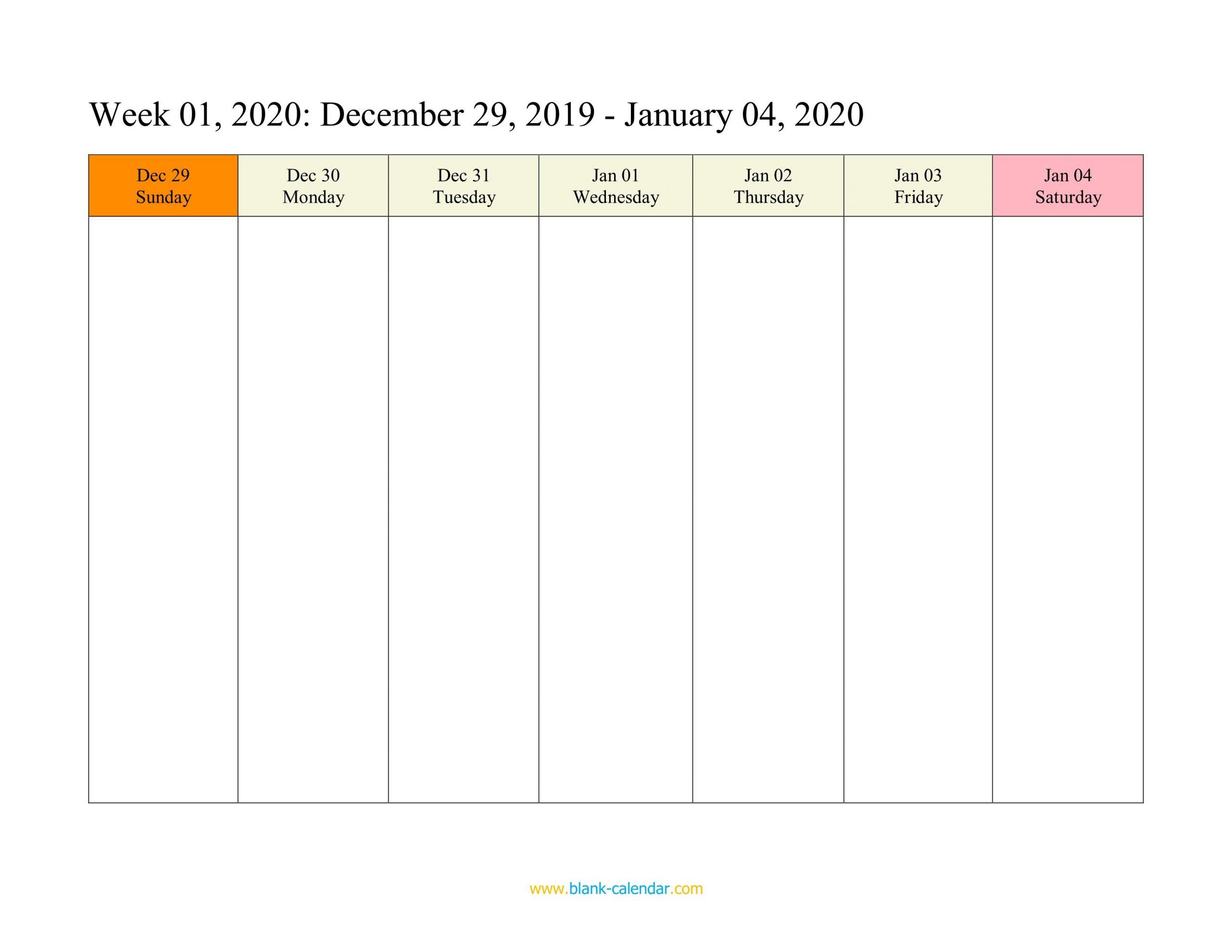 Weekly Calendar 2020 (Word, Excel, Pdf) One Week Calendar Printable