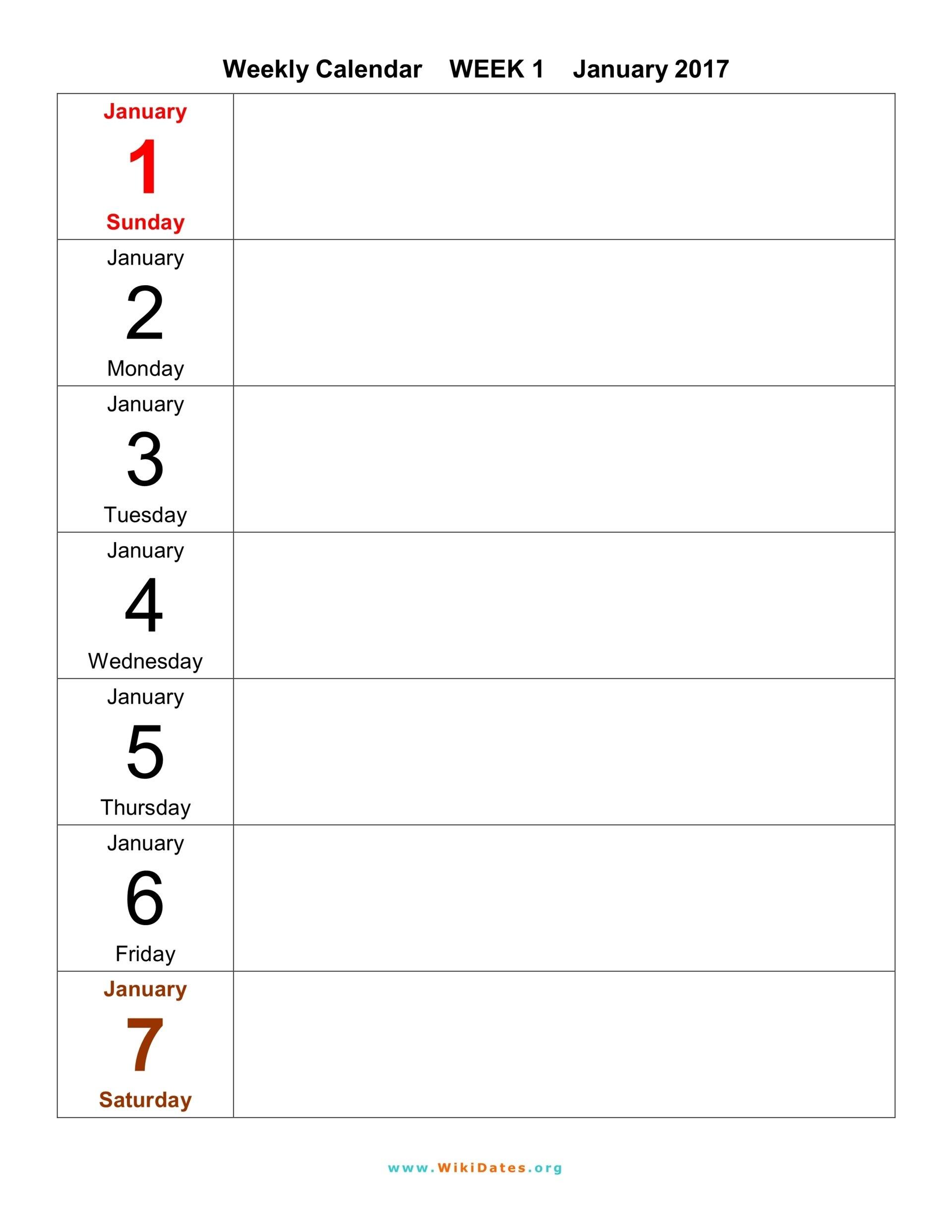 Weekly Calendar - Download Weekly Calendar 2017 And 2018 1 Week Blank Calendar Printable