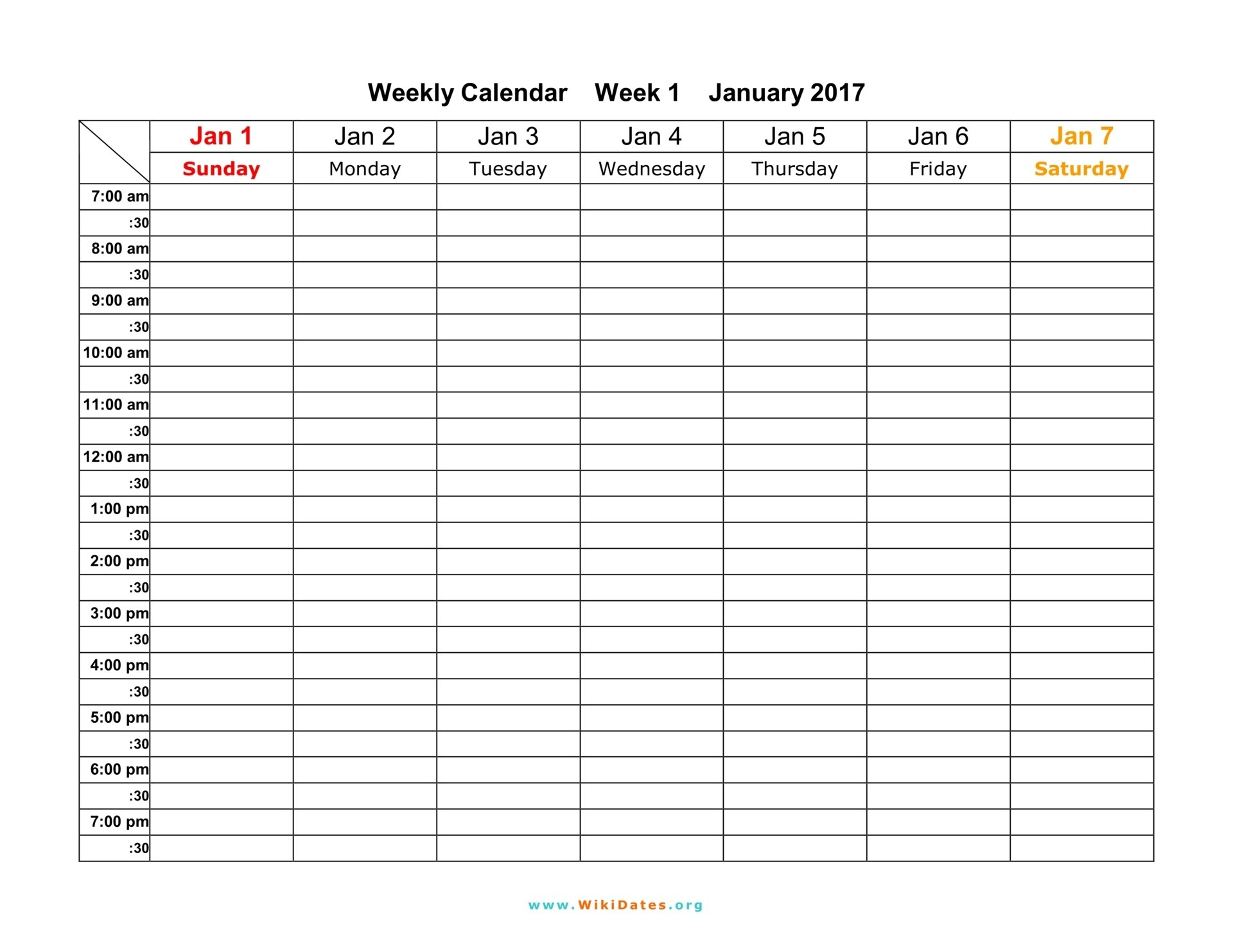 Weekly Calendar - Download Weekly Calendar 2017 And 2018 Free 7 Day Calendar Template
