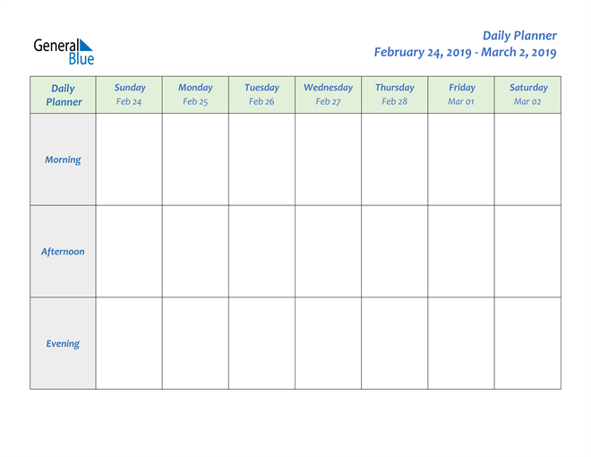 Weekly Calendar – February 24, 2019 To March 2, 2019 2 Week Calendar March