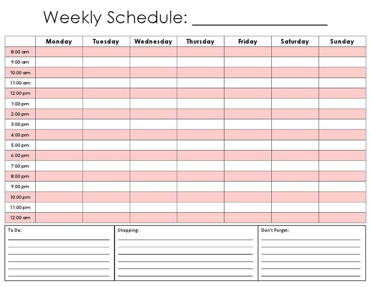 Weekly Calendar Hourly Daily Hour By Hour Calendar Printable