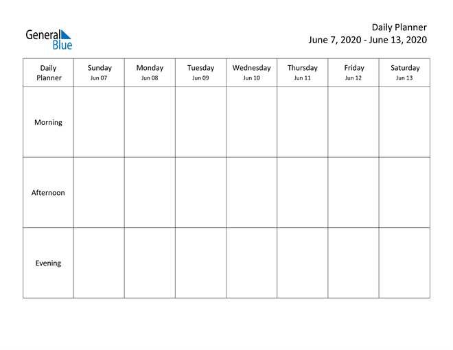 Weekly Calendar - June 7, 2020 To June 13, 2020 - (Pdf Week Day Printable Calander Free