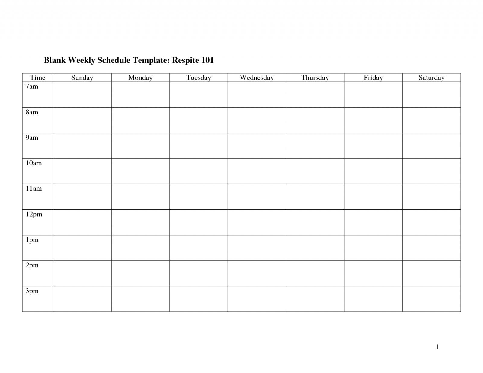 Weekly Calendar Template Monday To Friday | Example Sunday Through Saturday Calendar