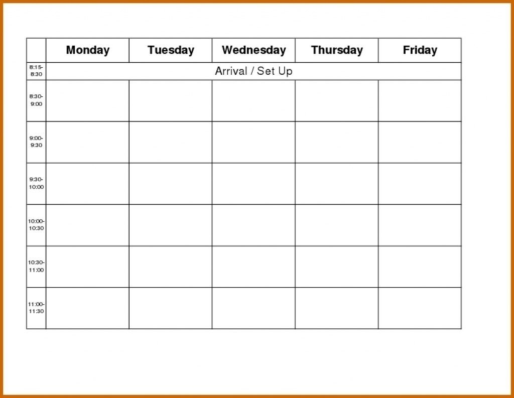 Weekly Calendar Template Monday To Friday | Example Weekly Schedule Template Monday Friday