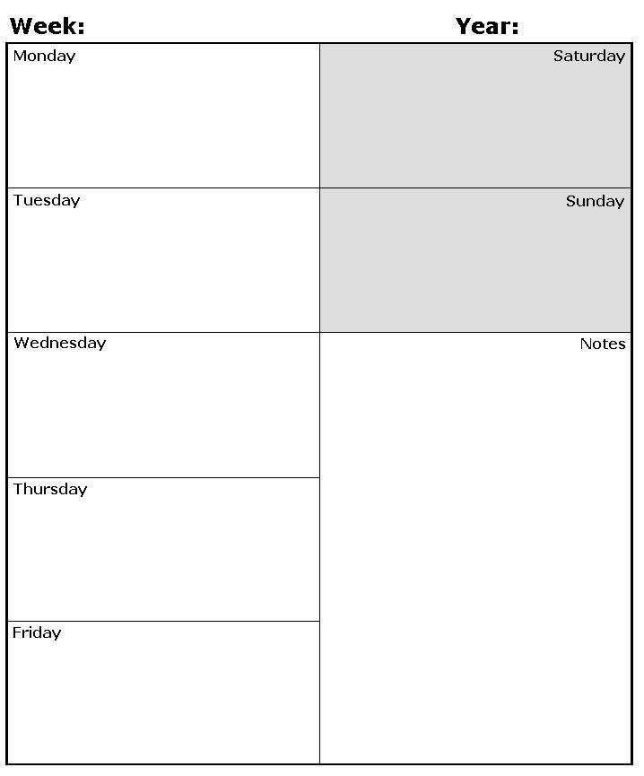 Weekly Calendar Template Pdf Week Day Printable Calander Free