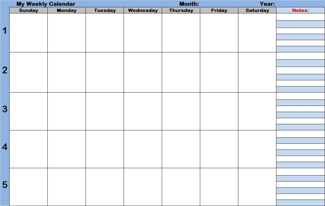 Weekly Calendar With Time Slots Printable - Calendar Weekly Schedule With Time Slots