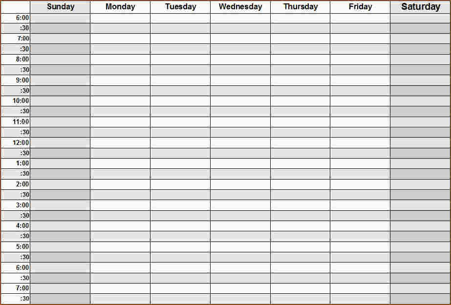 Weekly Calendarhour – Printable Week Calendar One Week Lined Schedule
