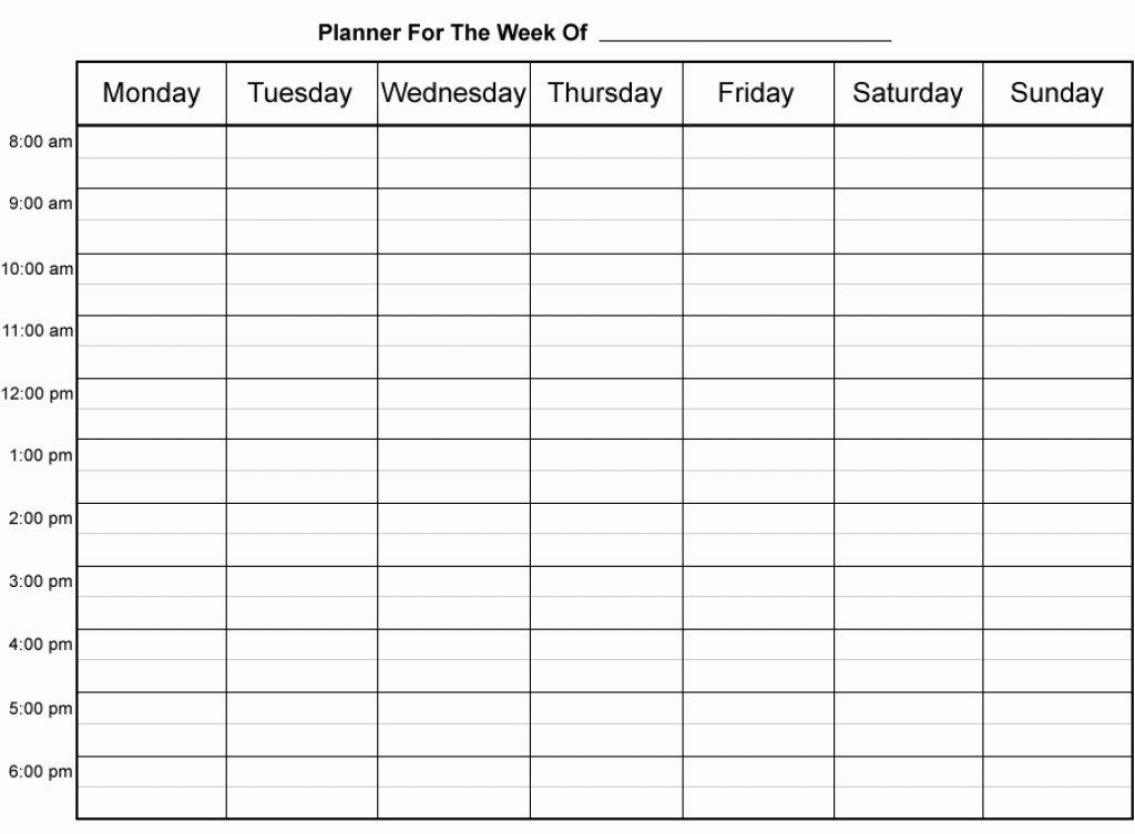 Weekly Calendarhour – Printable Week Calendar Printable Day Calendar Hour