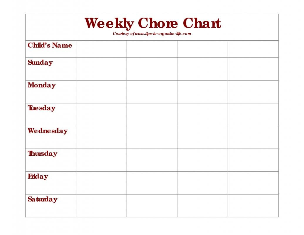 Weekly Chore Chart | Template Business Empty Monday Through Sunday Schedule