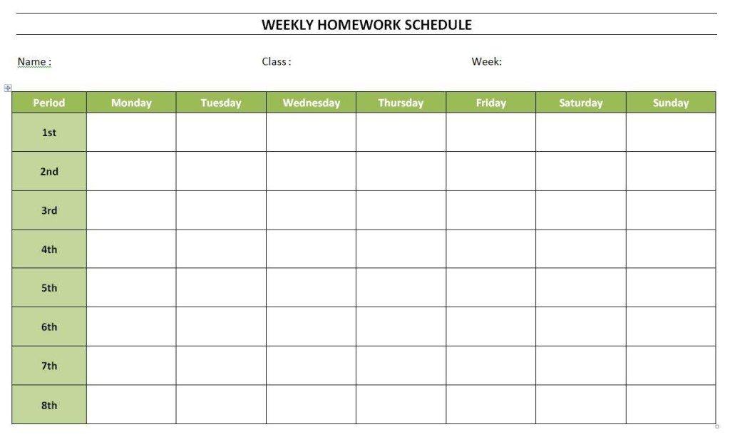 Weekly Homework Schedule » Officetemplates Empty Monday Through Sunday Schedule