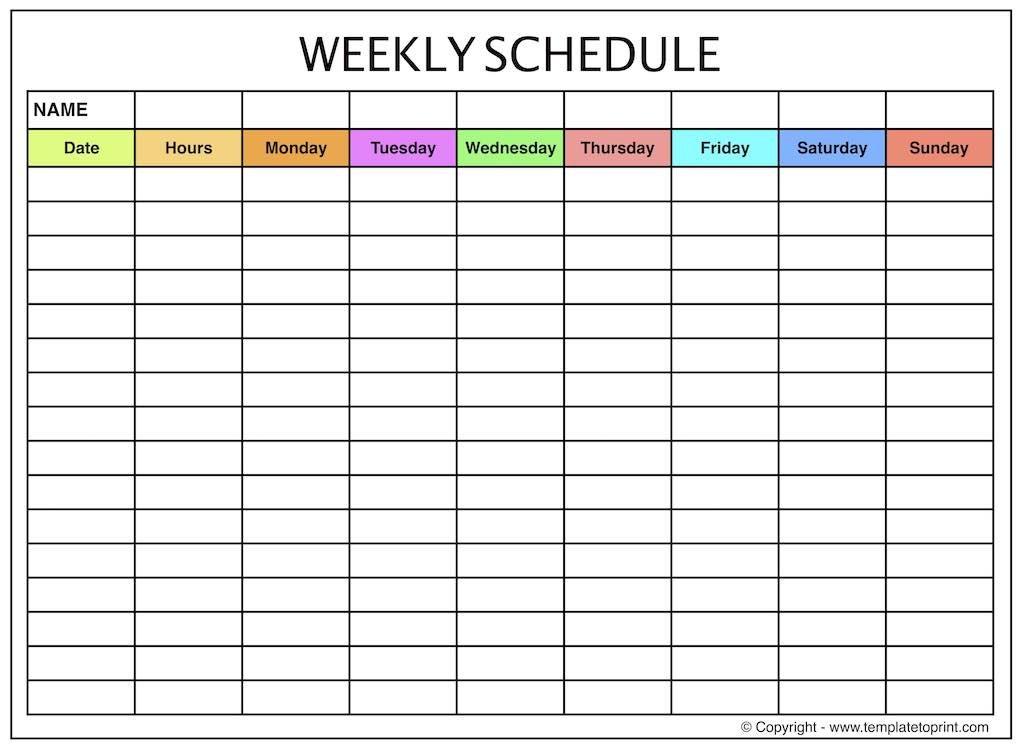 Weekly Planner - Blank Weekly Calendar Template With Time Blank Printabel Daily/Weekly Meeting Schedule