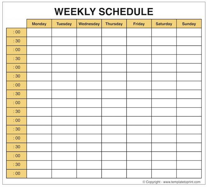 Weekly Planner - Blank Weekly Calendar Template With Time Weekly Planner With Time Slots