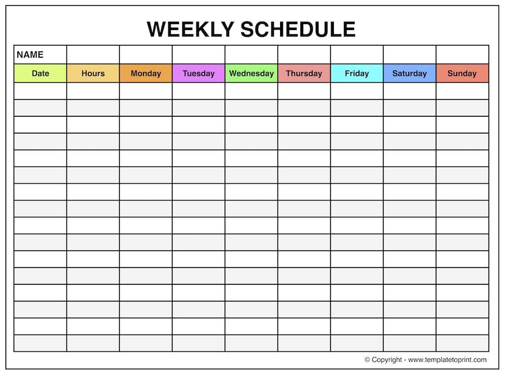 Weekly Planner Layout - Weekly Planner Template Monday To Schedule Template Printable Monday- Sunday