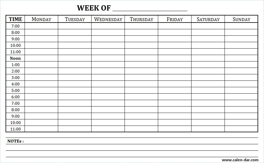 Weekly Schedule Printable With Times And Notes | Schedule Weekly Calendar Saturday To Friday